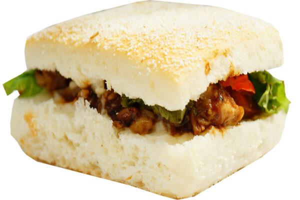 mini barbeque chicken on semolina panini